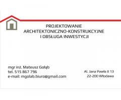 Projektowanie architektoniczno-konstrukcyjne i obsługa inwestycji